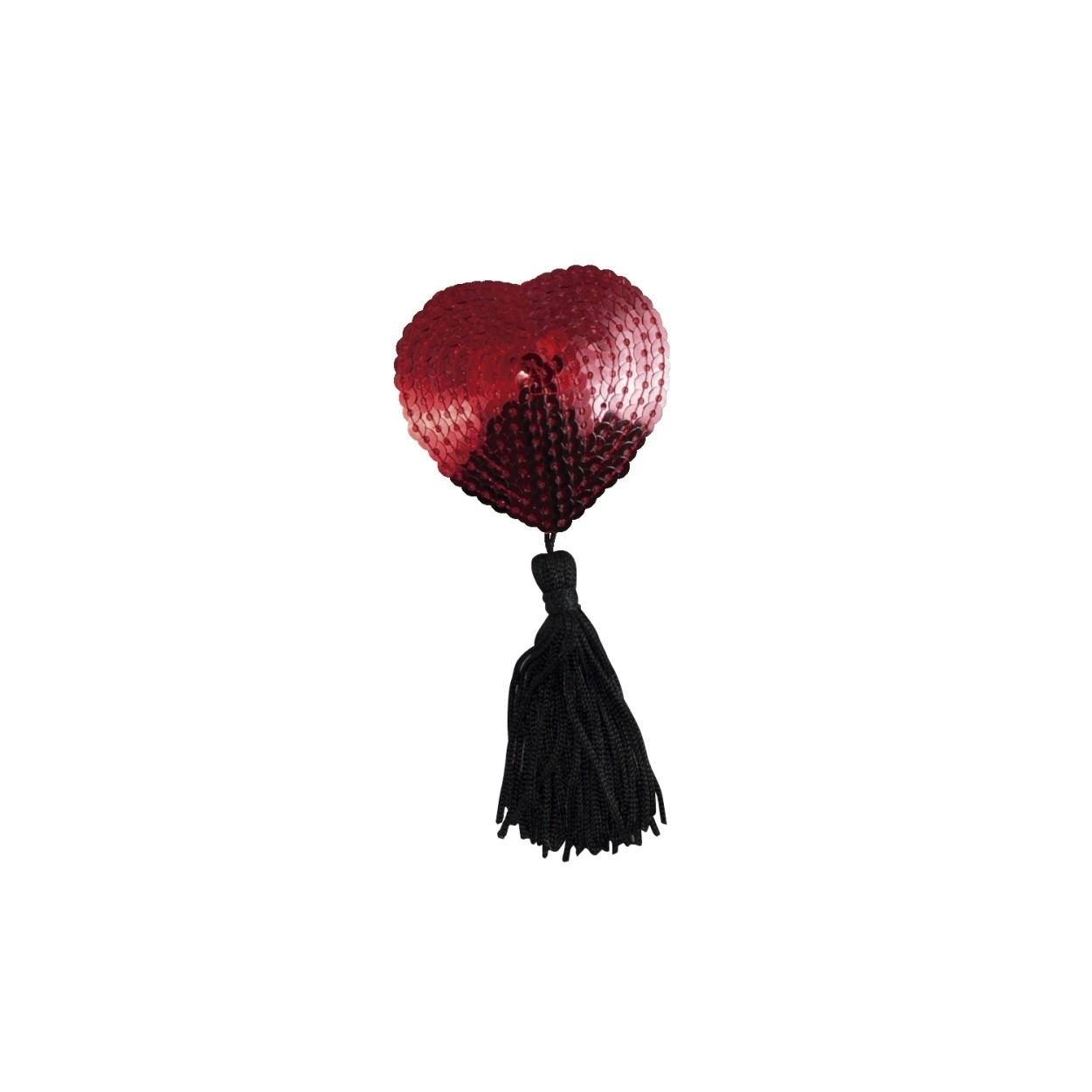 Nipple Cover Coração Pompom Vermelha