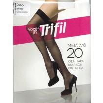 Meia 7/8 Fio 20 TriFil Ideal para Usar com Cinta Liga - Branca