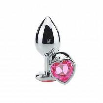 Plug anal de coracao em metal pink