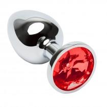 Plug anal de metal com pedra vermelha