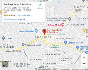 Mapa como chegar na Santa e Pecadora Passo Fundo Sex Shop